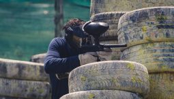 A guy playing Paintball