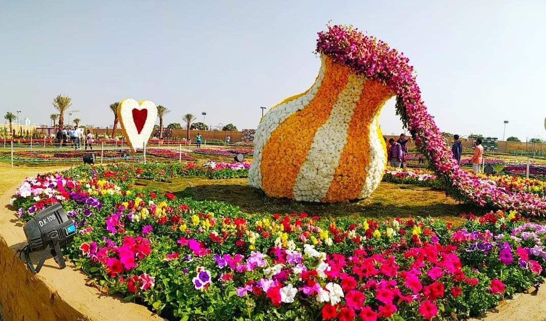 Sculpture of Heart and Kalash at Flower Show in Ahmedabad