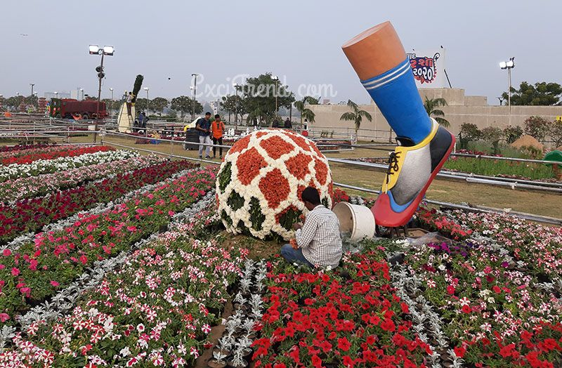 Sculpture of Football kick at Flower Show in Ahmedabad