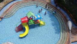 Aerial view of a water park